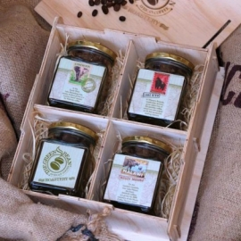4 Jar wooden gift box (Whole beans)