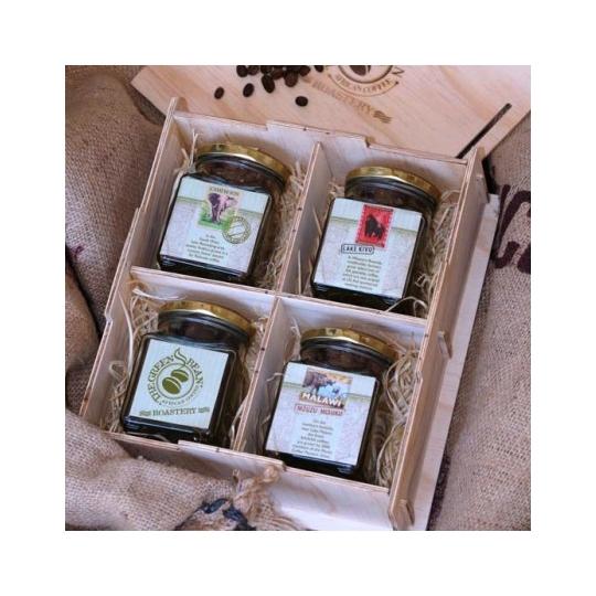 4 Jar wooden gift box (Ground Coffee)